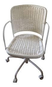 Desk Chair White White Wicker Rolling Desk Chair Chairish