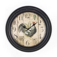 adeco 14 15 black and brown antique look dial rooster figure