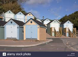beach huts at alum chine bournemouth uk stock photo royalty