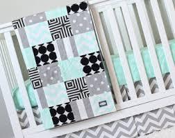 Green And White Crib Bedding Modern Crib Bedding Etsy