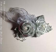 silver flowers silver silk boutonniere for him