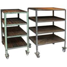 Shelves On Wheels by This Versatile Shelving Unit In Antiqued Steel With Wooden Slats