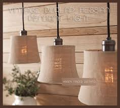 burlap hessian cloth pendant light chandelier lamp shade edison