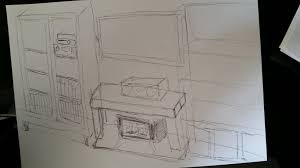 sketch of woodburner with tv above fireplace