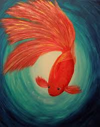 three wishes original acrylic painting on canvas gold fish