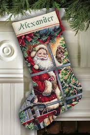 candy cane santa cross stitch christmas stocking kit