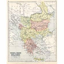 Turkey Greece Map by Antique Map C1890 Turkey Greece Romania Bulgaria Serbia