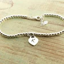 silver bead bracelet with heart images Sterling silver beaded monogram bracelet heart charm woobie beans jpg