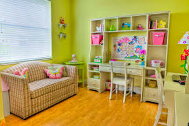 adorable girls room design with green wall and wooden floor learn
