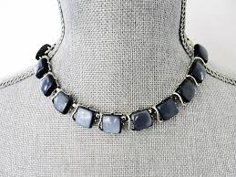 vintage necklace design images Beautiful 1950s signed designer coro grey blue moon glow JPG