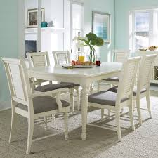 Dining Room Sets White Seabrooke 7 Piece Turned Leg Dining Table And Louvered Back Chairs