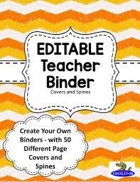 editable teacher binder covers orange and white chevron by