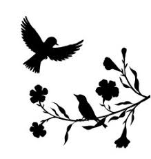 tree silhouette with bird flying royalty free vector image