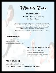 Artist Resume Sample by Martial Arts Resume Example Sample Resumes For Karate And Martial