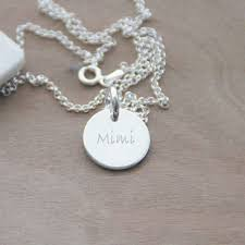 Personalized Disc Necklace Sterling Silver Engraved Disc Necklace Paw Print The Little