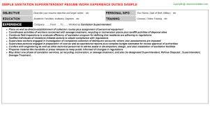 Superintendent Resume Examples by Sanitation Superintendent Job Title Docs