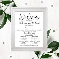 wedding program poster stylish lettered wedding program poster calligraphy printable