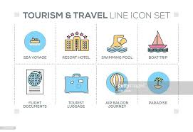 Tourism and travel keywords with line icons vector art getty images