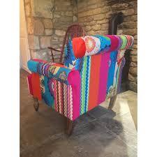patchwork bedroom armchair velvet material pink red blue green
