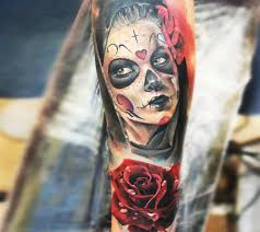 mexican style colored arm tattoo of woman with rose tattooimages biz