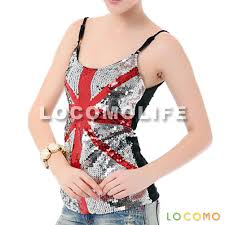 Country Flags England Women Uk England Union Jack Country Flag Sequin Tank Top Silver