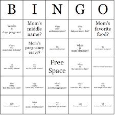 mommy trivia bingo cards