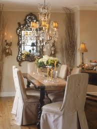 french country dining room ideas with rustic table and slipcovered
