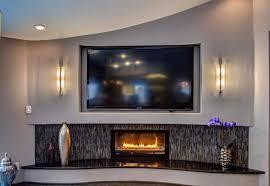living room living room with art deco inspired gas fireplace