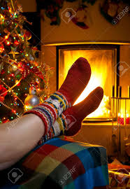 resting in room with fireplace christmas stock photo picture