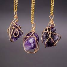 handmade pendant necklace images Handmade irregular natural stone amethyst pendant necklaces gold jpg