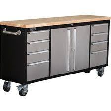 home depot black friday workbench husky 52 in 10 drawer mobile workbench with solid wood top black