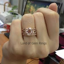 morganite wedding set 3 wedding ring sets claw prongs from thisislogr on etsy