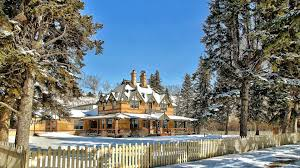 houses wonderful country manor winter house trees fence yard free