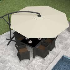 Patio Umbrellas With Stands by Corliving 10 Ft Steel Offset Umbrella Hayneedle