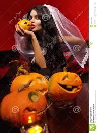 halloween long background woman with halloween pumpkin stock photo image 34323700