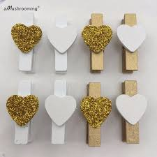 gold party decorations set of 20 gold glitter heart clothespins rustic wedding decor party