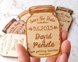 rustic save the date wood ideas design your own save the date cards jar magnets