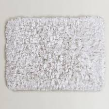 Gray And White Bathroom Rugs White Jersey Shag Bath Mat World Market