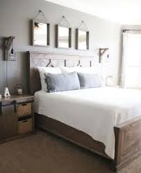 farmhouse king bed knotty alder and grey stain do it yourself