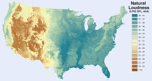 United States Map Activity by Noise Level From Natural Sources Excluding Humans And Human