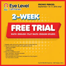 kumon and eye level offer two week free trial my teacher mommy