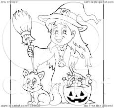 black and white halloween pumpkin clipart lineart clipart of a cartoon black and white happy witch with