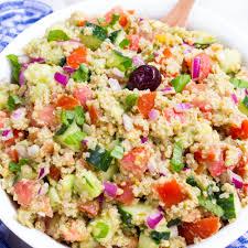 pesto quinoa avocado cucumber tomato salad