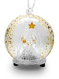 light up glass ornament nativity with
