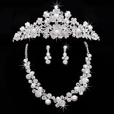 clip on chandelier earrings silver bridal jewelry sets rhinestone pendant necklaces and clip