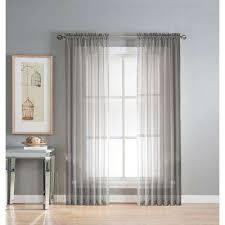 Grey Sheer Curtains Gray Sheer Curtains Drapes Window Treatments The Home Depot
