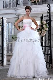 casual wedding dresses ivory and pink ruffled strapless casual wedding dresses for