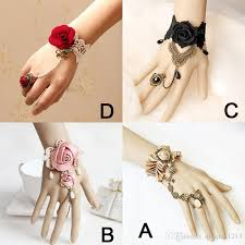 bracelet hand images Retro rose flower bracelet ring sets ladies women club party show jpg