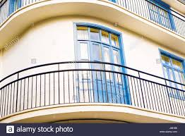 beautiful balcony blue old balcony beautiful balcony in small town stock photo