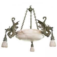 Bronze Chandelier With Shades Bronze Dragon Chandelier With Spanish Alabaster Shades Art Deco